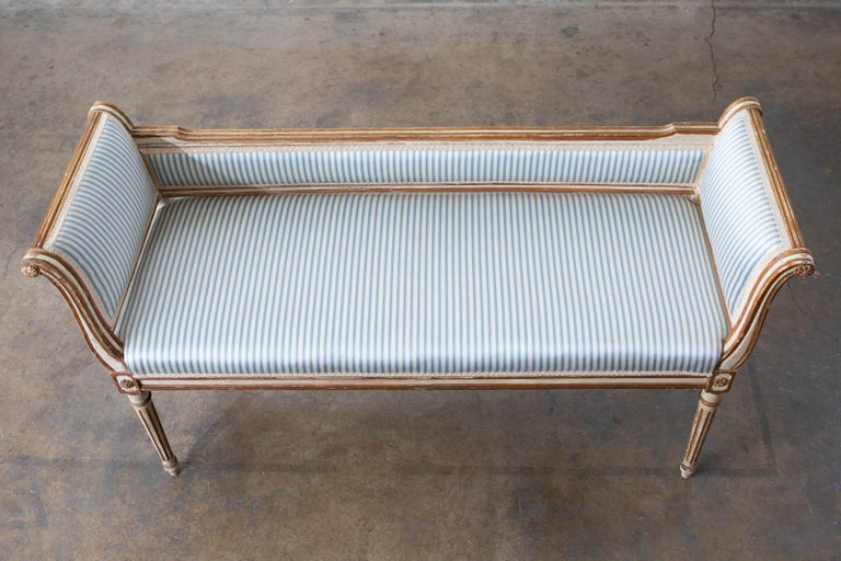 French Louis XVI Style Painted Window Bench Banquette For Sale 3