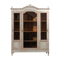 French Louis XVI Style Painted Wood Cabinet with Glass Doors and Bonnet Cornice