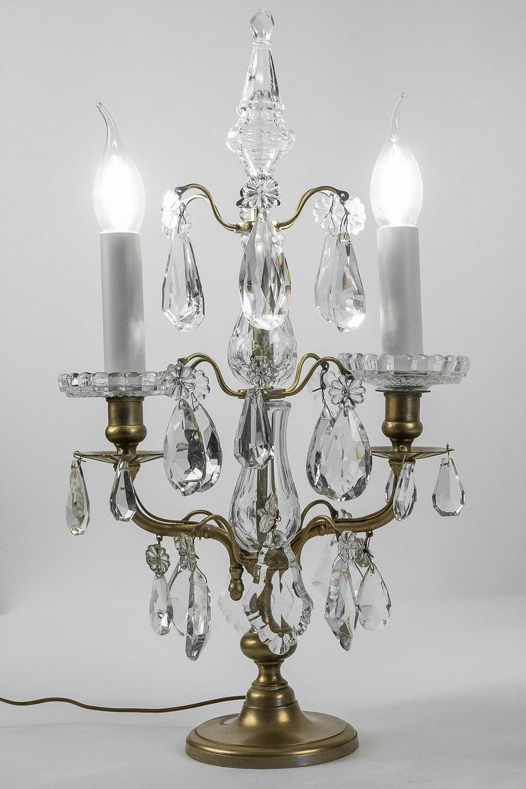 French Louis XVI Style, Pair of Gilt-Bronze and Cut-Crystal Girandole Lamps For Sale 8