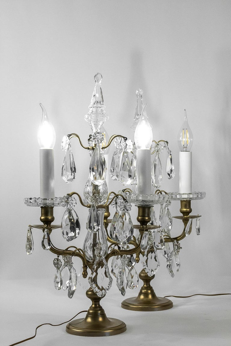 French Louis XVI Style, Pair of Gilt-Bronze and Cut-Crystal Girandole Lamps For Sale 9