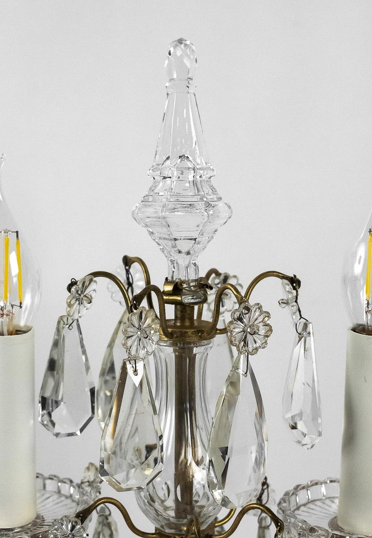 20th Century French Louis XVI Style, Pair of Gilt-Bronze and Cut-Crystal Girandole Lamps For Sale