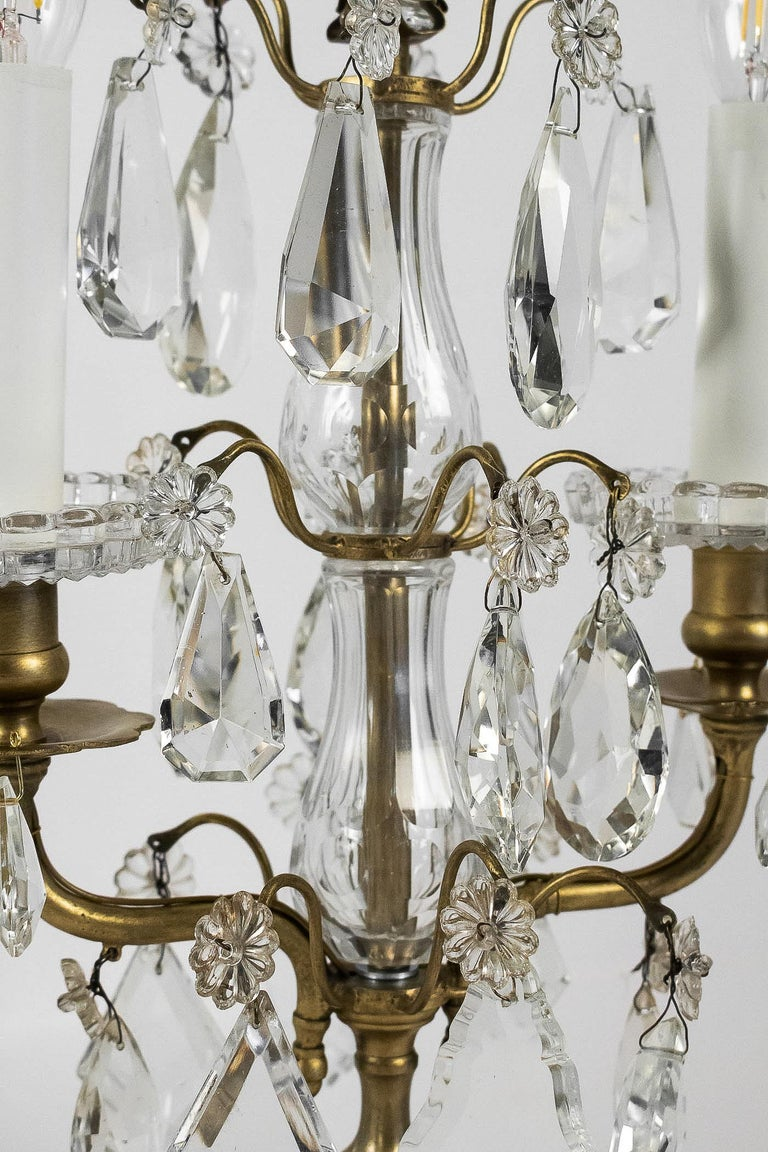 French Louis XVI Style, Pair of Gilt-Bronze and Cut-Crystal Girandole Lamps For Sale 2