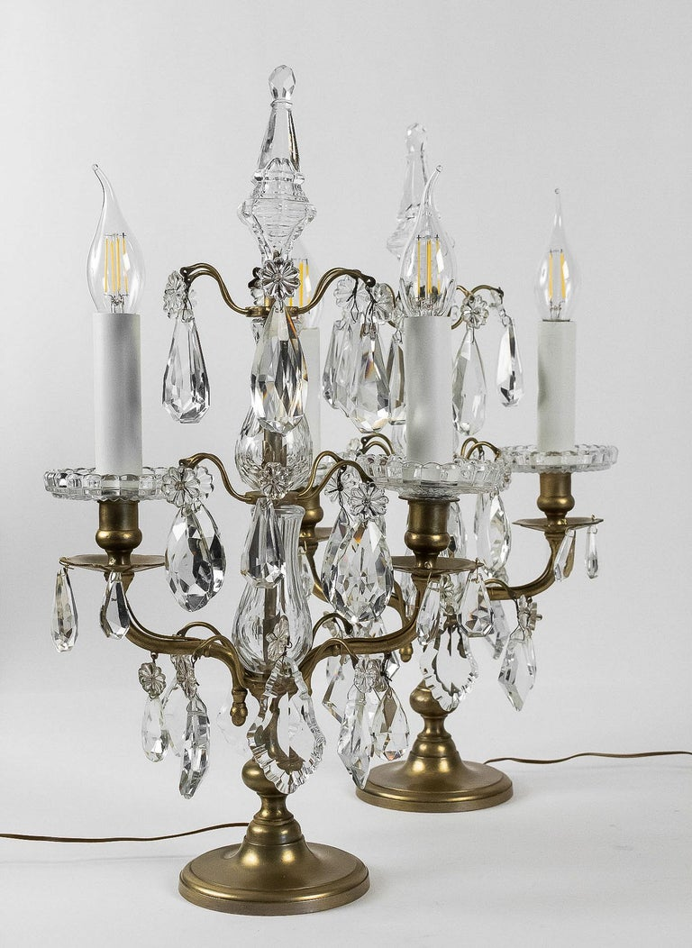 French Louis XVI Style, Pair of Gilt-Bronze and Cut-Crystal Girandole Lamps For Sale 3