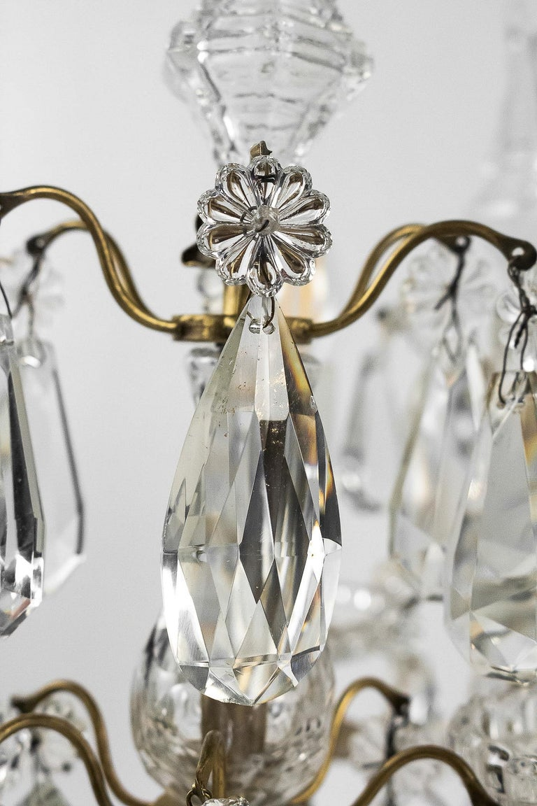 French Louis XVI Style, Pair of Gilt-Bronze and Cut-Crystal Girandole Lamps For Sale 5