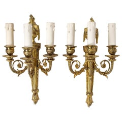 French Louis XVI Style, Pair of Small Chiseled Ormolu Sconses, circa 1880