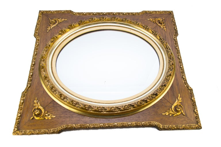 French Louis XVI Style Parcel-Gilt Mirror Frame in Oak For Sale 7