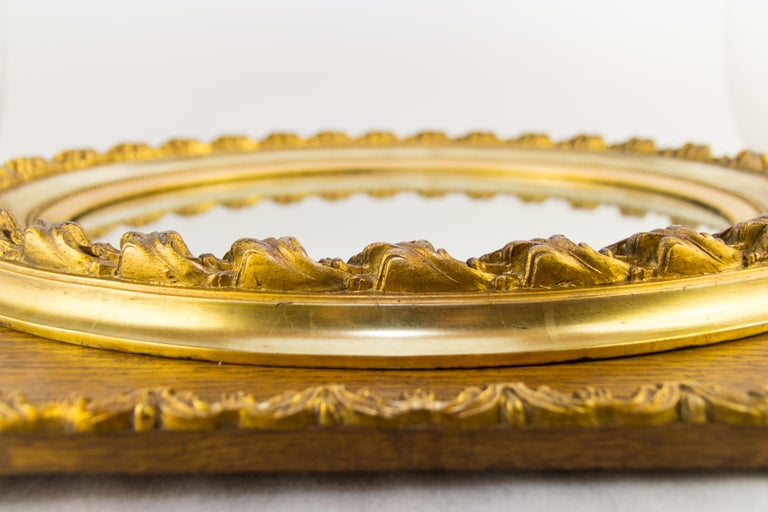 French Louis XVI Style Parcel-Gilt Mirror Frame in Oak For Sale 8