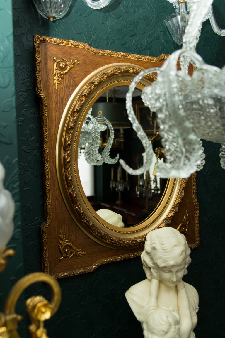 French Louis XVI Style Parcel-Gilt Mirror Frame in Oak For Sale 11