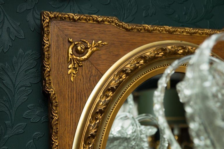 French Louis XVI Style Parcel-Gilt Mirror Frame in Oak For Sale 12