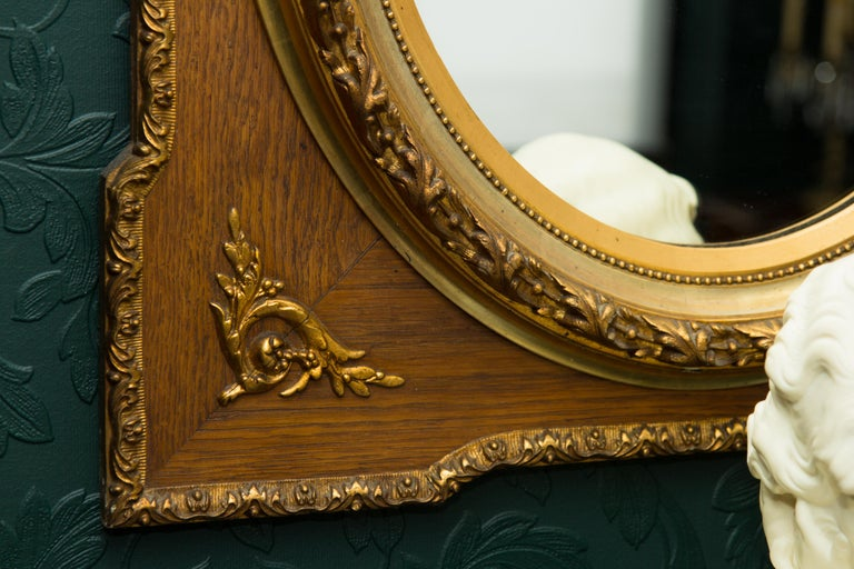 French Louis XVI Style Parcel-Gilt Mirror Frame in Oak For Sale 13