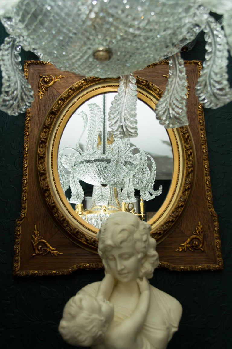 French Louis XVI Style Parcel-Gilt Mirror Frame in Oak For Sale 14