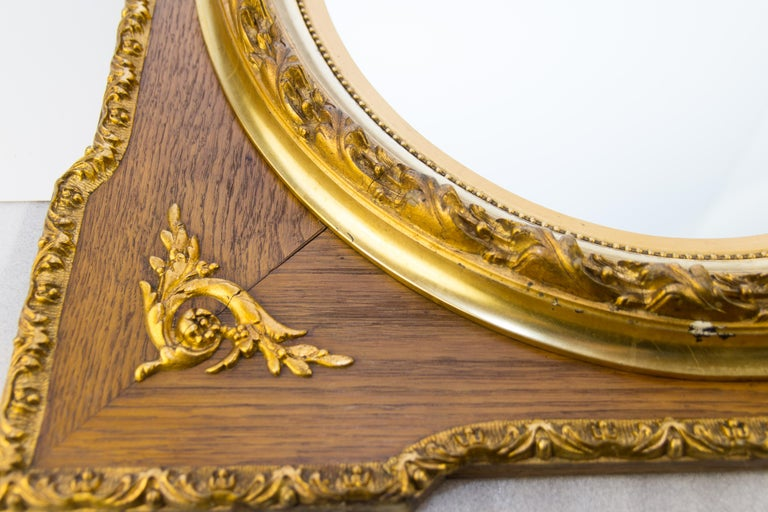 Early 20th Century French Louis XVI Style Parcel-Gilt Mirror Frame in Oak For Sale
