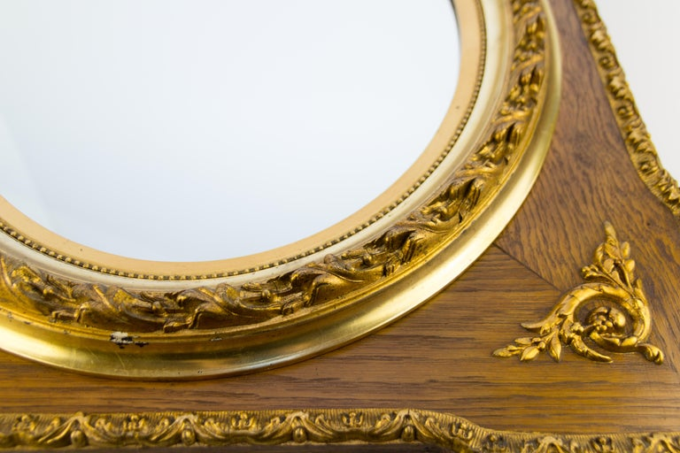 French Louis XVI Style Parcel-Gilt Mirror Frame in Oak For Sale 1