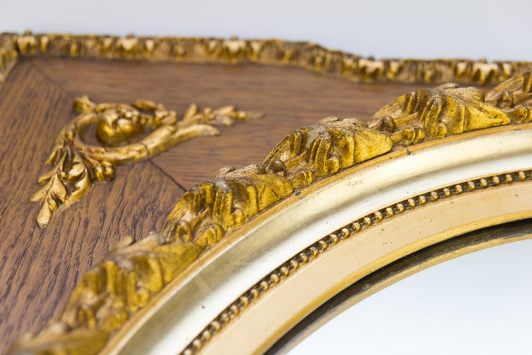 French Louis XVI Style Parcel-Gilt Mirror Frame in Oak For Sale 3