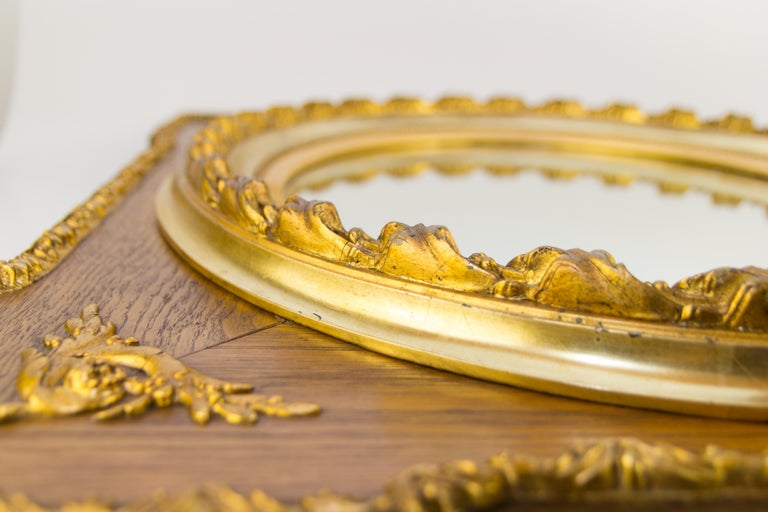 French Louis XVI Style Parcel-Gilt Mirror Frame in Oak For Sale 4