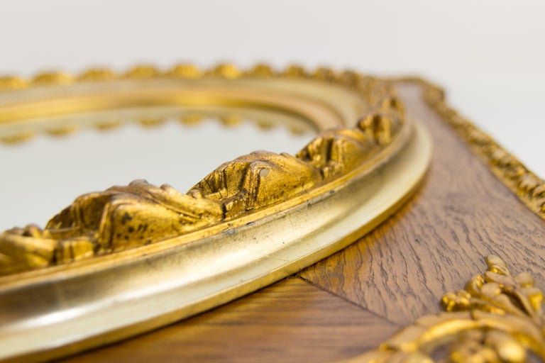 French Louis XVI Style Parcel-Gilt Mirror Frame in Oak For Sale 5