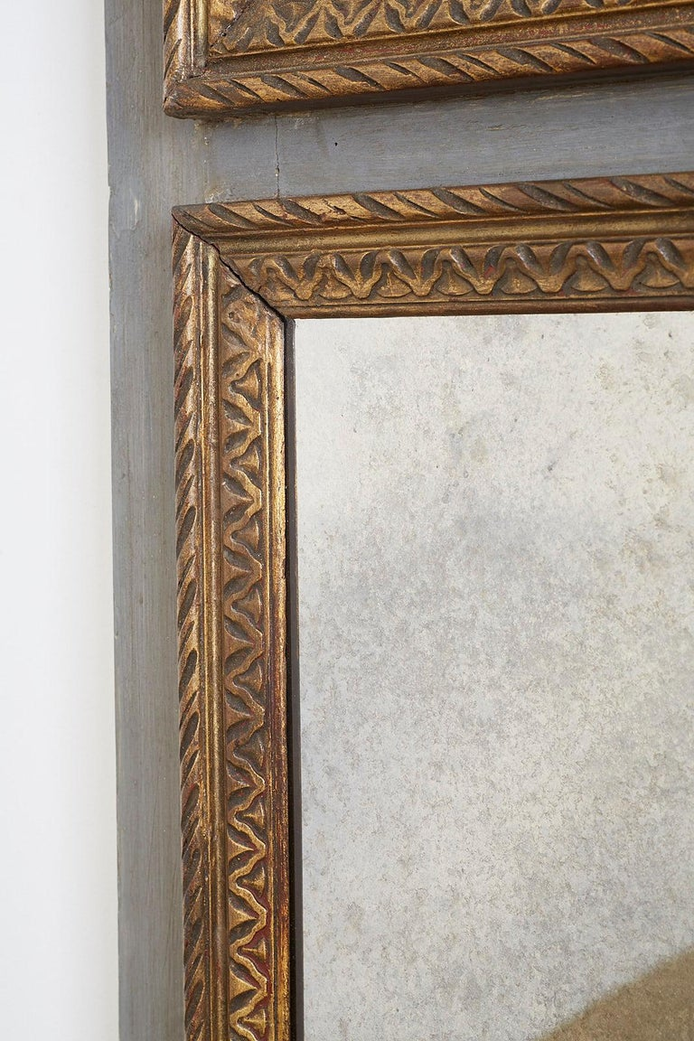 French Louis XVI Style Parcel Gilt Trumeau Mirror For Sale 6