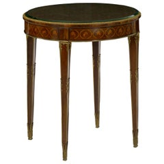 French Louis XVI Style Parquetry Inlaid Gilt Bronze Circular Round Accent Table