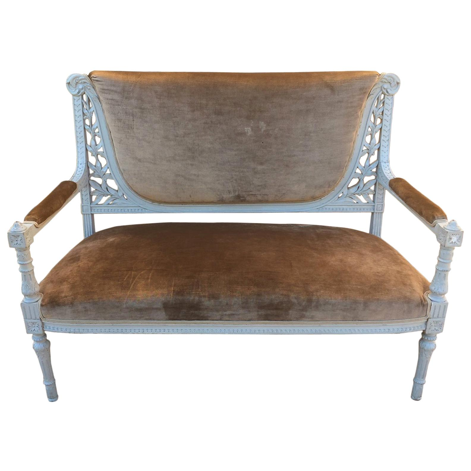 French Louis XVI Style Patinated Bench, 1900s