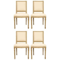 French Louis XVI Style Patinated Pale Green Dining Chairs