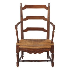 French Louis XVI Style Provencal Rush Seat Armchair, 1940s