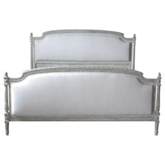 French Louis XVI-Style Queen Size Bed Frame with Distressed Finish