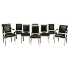 French Louis XVI Style, Set of (8) Painted Dining Chairs with Black Leather
