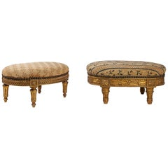 French Louis XVI Style Set of Two Carved Giltwood Footstool, circa 1880