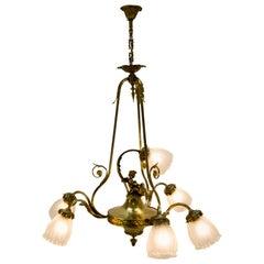 French Louis XVI Style Seven-Light Putti Cherub Chandelier