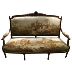 French Louis XVI Style Seven Piece Parlour Suite, Walnut 19th C with Aubusson