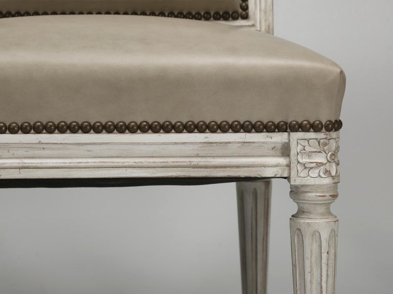 French Louis XVI Style Side Chair Handmade in France and Available in the Flat For Sale 5