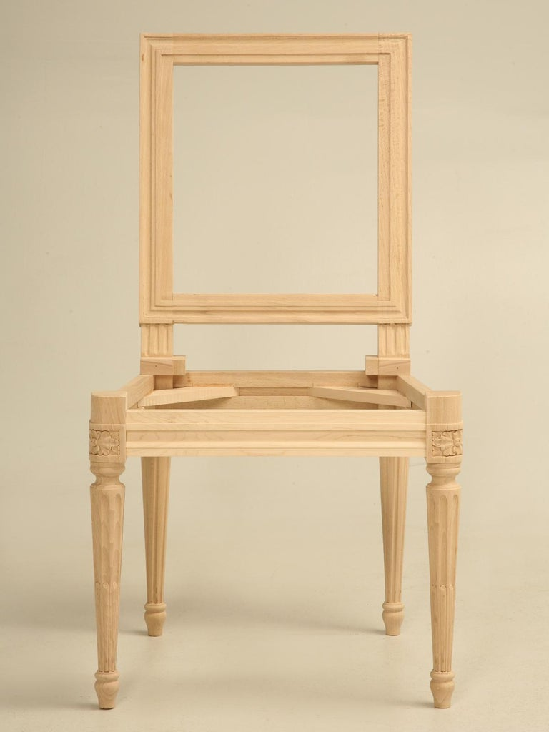 Hand-Carved French Louis XVI Style Side Chair Handmade in France and Available in the Flat For Sale