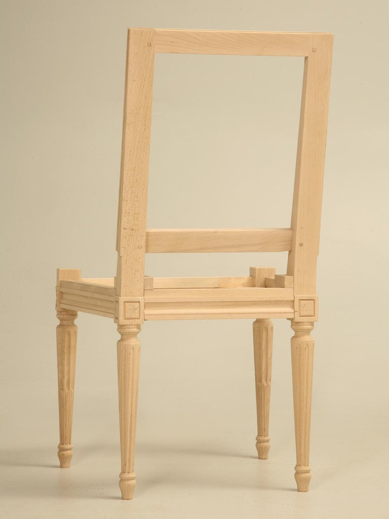 Contemporary French Louis XVI Style Side Chair Handmade in France and Available in the Flat For Sale