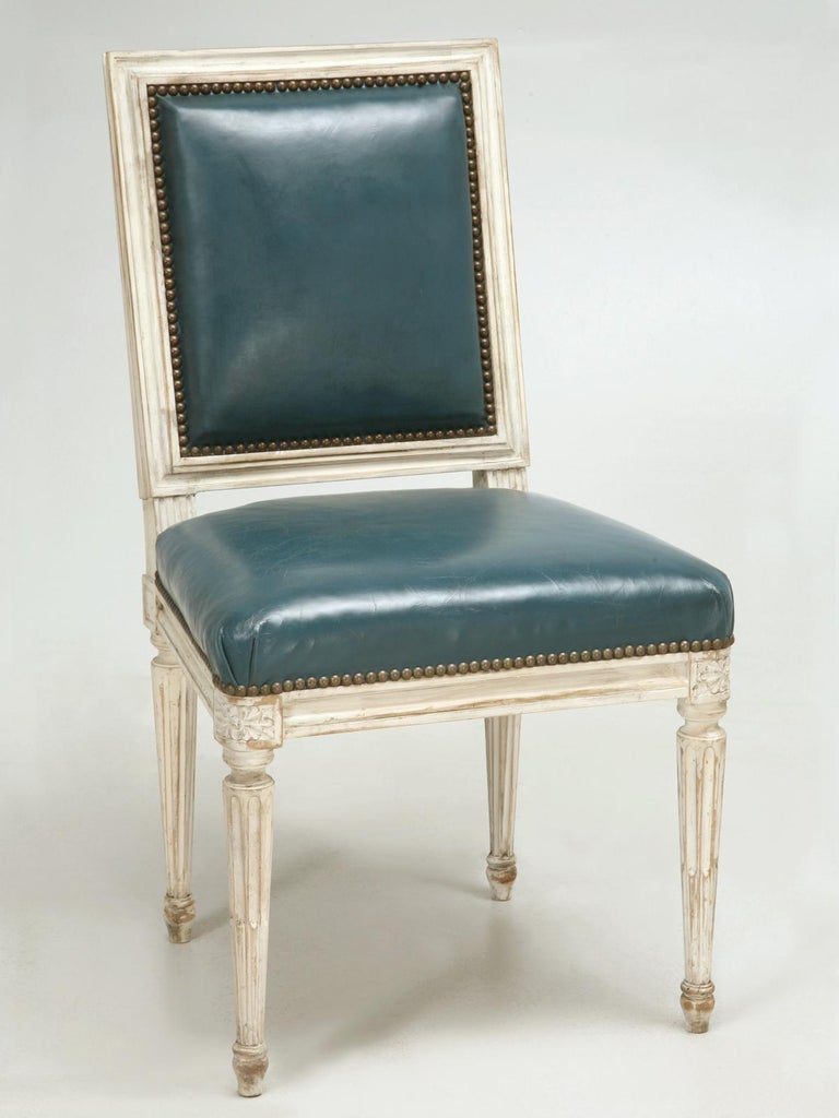 Beech French Louis XVI Style Side Chair Handmade in France and Available in the Flat For Sale