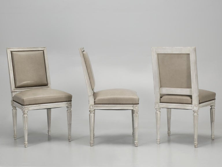 French Louis XVI Style Side Chair Handmade in France and Available in the Flat For Sale 2
