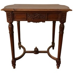 French Louis XVI Style Side Table or Writing Table, Entretoise Legs