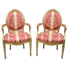 French Louis XVI Style Silver Gold Gilt Pink Damask Oval Back Arm Chairs, Pair