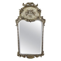 French Louis XVI Style Silver Trumeau Wall or Mantel Mirror