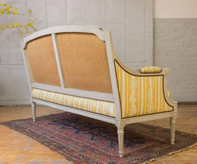 French Louis XVI Style Sofa with Painted Carved Frame For Sale 7