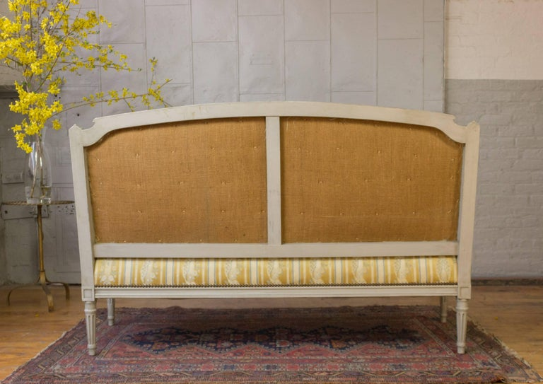 Mid-20th Century French Louis XVI Style Sofa with Painted Carved Frame For Sale
