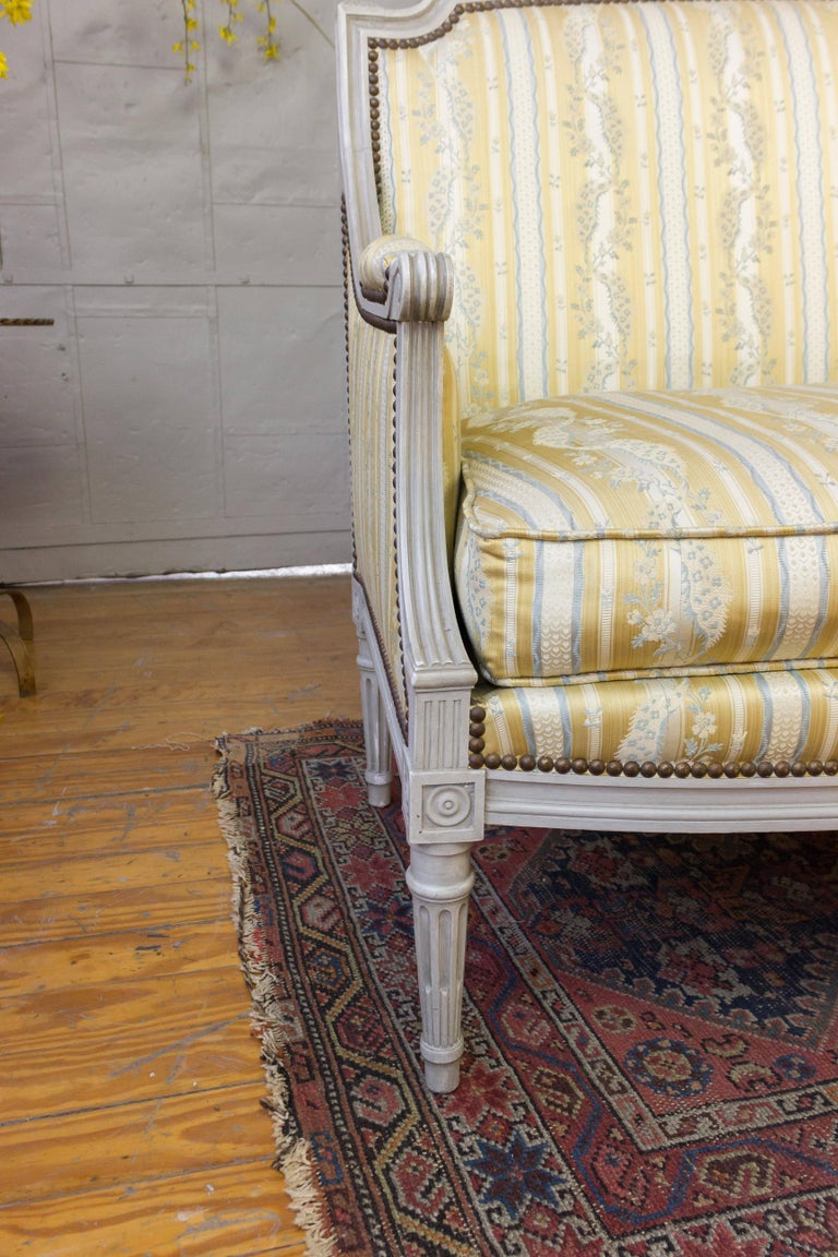 French Louis XVI Style Sofa with Painted Carved Frame For Sale 1