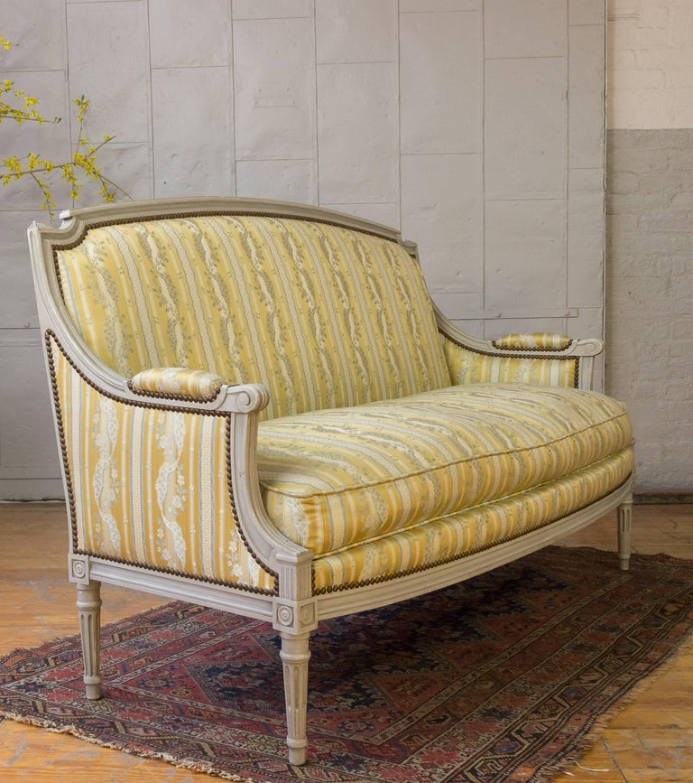 French Louis XVI Style Sofa with Painted Carved Frame For Sale 3