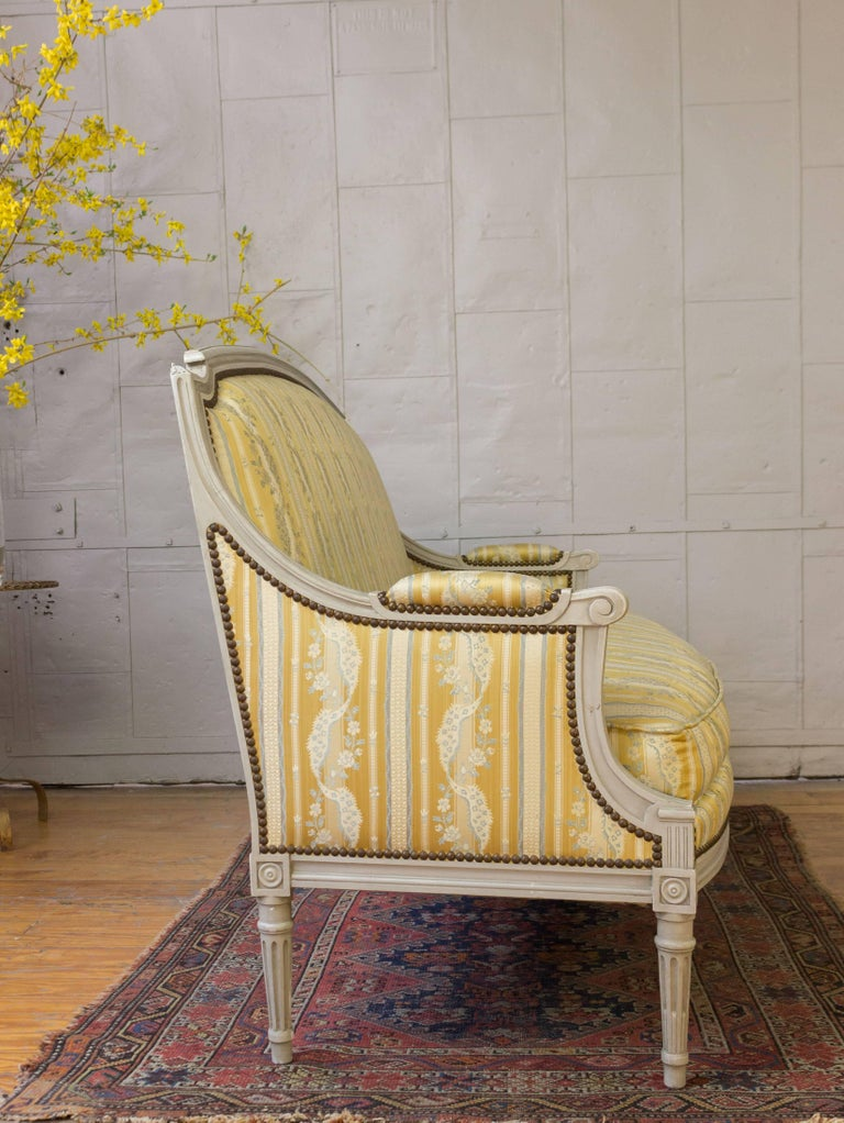French Louis XVI Style Sofa with Painted Carved Frame For Sale 4