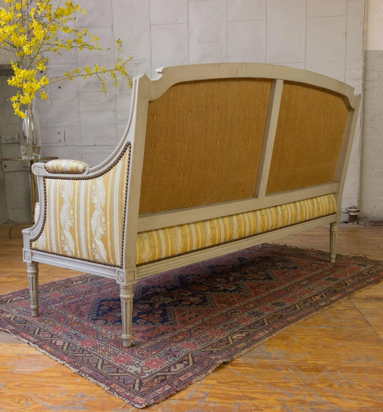 French Louis XVI Style Sofa with Painted Carved Frame For Sale 6