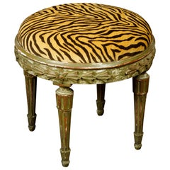 French Louis XVI Style Soft Green Painted Stool with Faux Tiger Print Fabric