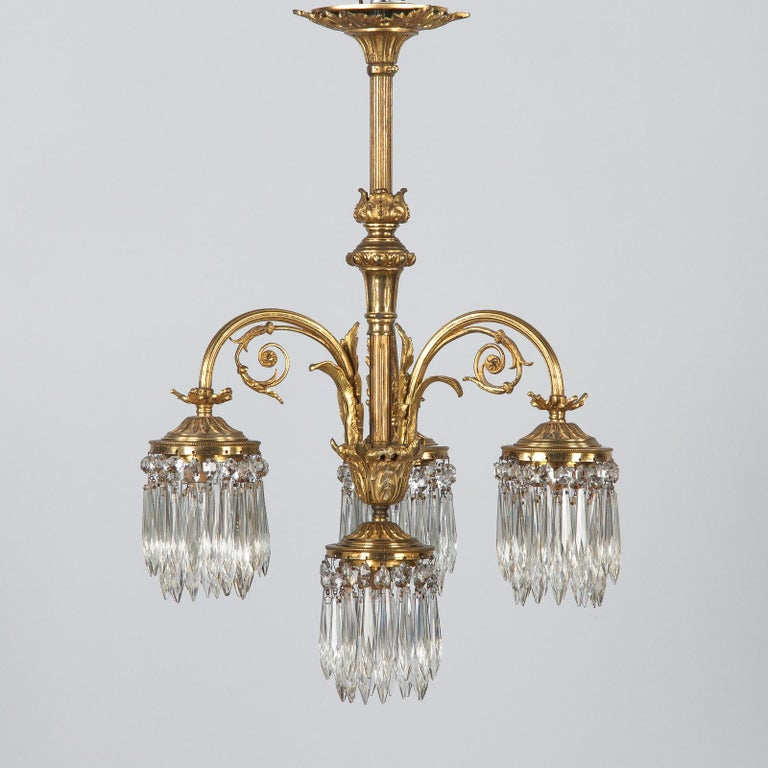 French Louis XVI Style Solid Brass and Crystals Four-Light Chandelier, 1870s For Sale 9
