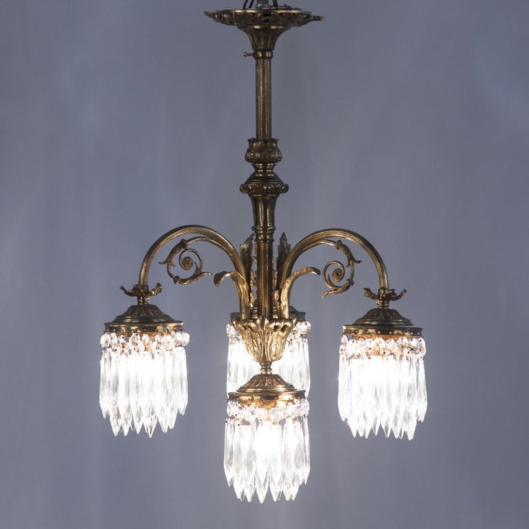French Louis XVI Style Solid Brass and Crystals Four-Light Chandelier, 1870s For Sale 11