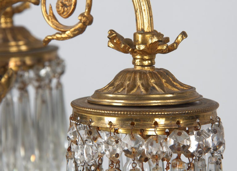 French Louis XVI Style Solid Brass and Crystals Four-Light Chandelier, 1870s For Sale 12