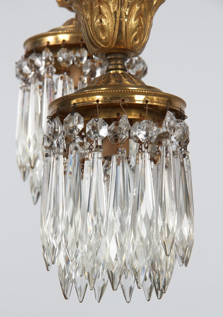 French Louis XVI Style Solid Brass and Crystals Four-Light Chandelier, 1870s For Sale 13