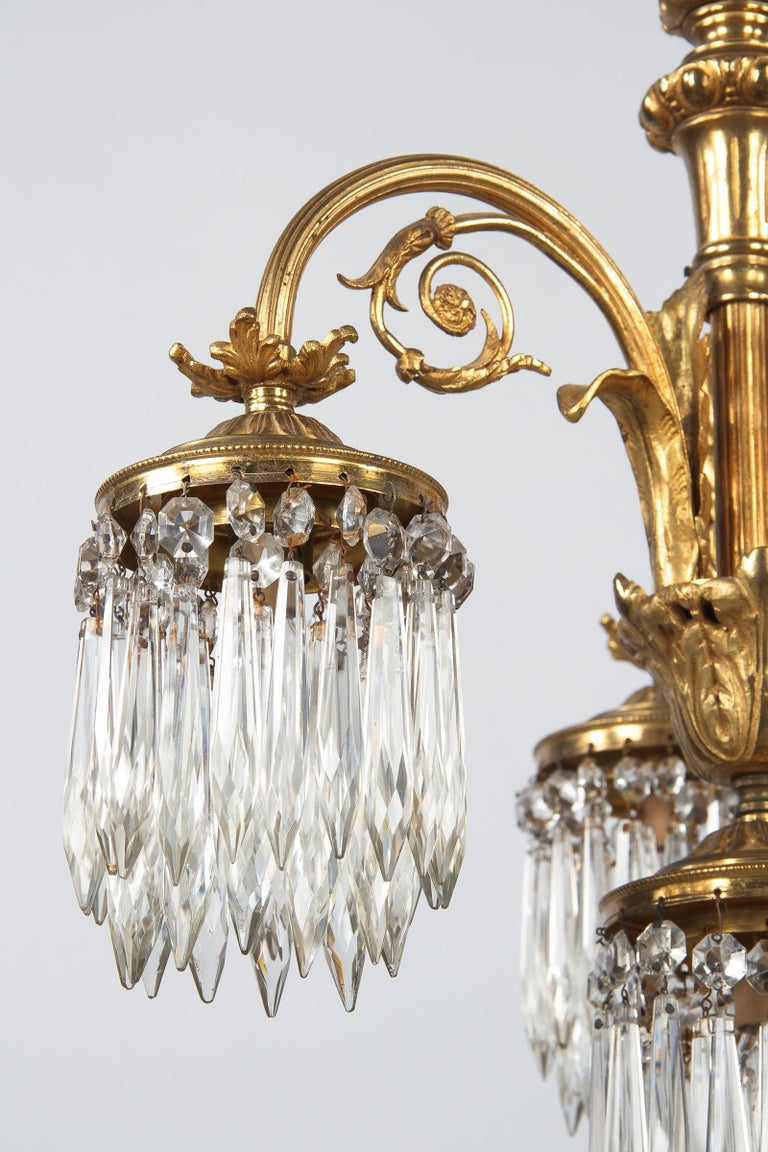 French Louis XVI Style Solid Brass and Crystals Four-Light Chandelier, 1870s For Sale 5